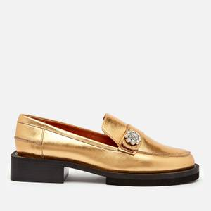 Ganni Women's Metallic Leather Loafers - Gold