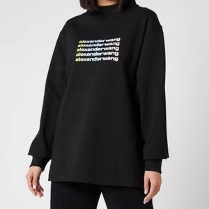 Alexander Wang Women's Long Sleeve T-Shirt with Wide Neck and Repeat Logo - Black