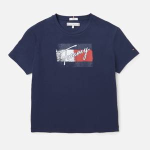 Tommy Hilfiger Girls' Flag Print Short Sleeve T-Shirt - Navy