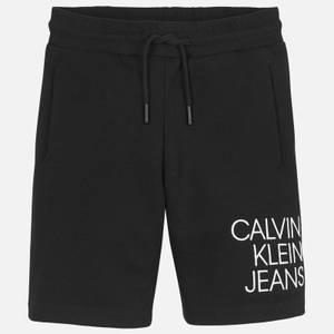Calvin Klein Jeans Boy's Hybrid Logo Jogger Shorts - Black