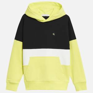 Calvin Klein Jeans Boy's Colour Block Logo Hoodie - Yellow Lime