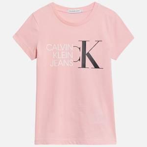 Calvin Klein Jeans Girl's Hybrid Logo Slim T-Shirt - Sand Rose