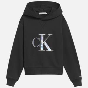 Calvin Klein Jeans Girl's Monogram Applique Hoodie - Black