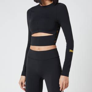 Reebok X Victoria Beckham Women's RBK VB Logo Long Sleeve Crop Top - Black