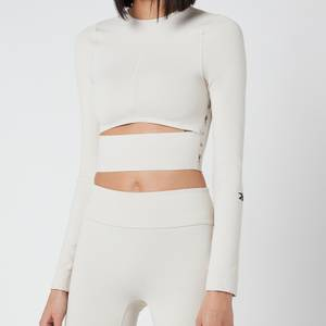 Reebok X Victoria Beckham Women's RBK VB Logo Long Sleeve Crop Top - Stucco