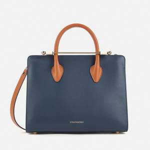 Strathberry Women's Midi Tri Colour Tote Bag - Navy/Vanilla/Tan