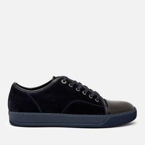 Lanvin Men's Suede/Patent Captoe Low Top Trainers - Dark Blue