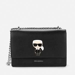 KARL LAGERFELD Women's K/Ikonik Metal Lock Shoulder Bag - Black