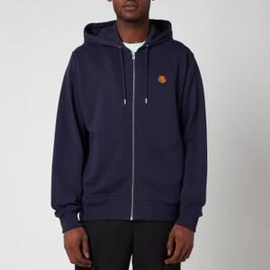 KENZO Men's Tiger Crest Full Zip Hooded Sweatshirt - Navy Blue
