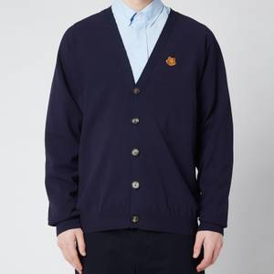 KENZO Men's Tiger Crest V-Neck Cardigan - Navy Blue