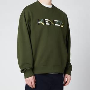 KENZO Men's Multicolour Logo Classic Sweatshirt - Dark Khaki