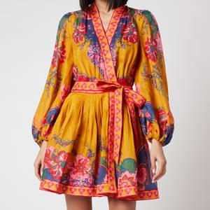 Zimmermann Women's The Lovestruck Wrap Mini Dress - Gold Paisely