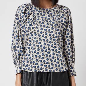 Munthe Women's Sabrin Puff Sleeve Blouse - Indigo