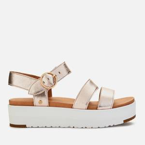 UGG Women's Leedah Leather Flatform Sandals - Rose Gold Metallic
