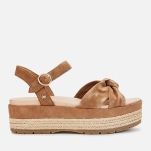 UGG Women's Trisha Suede Flatform Sandals - Chestnut