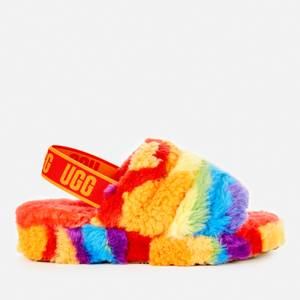 UGG Women's Fluff Yeah Pride Collection Slippers - Rainbow Stripe