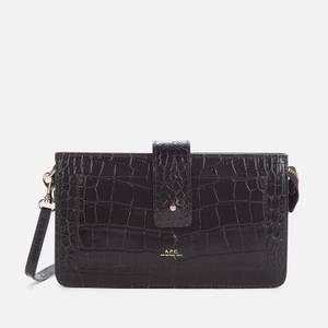A.P.C. Women's Albane Croc Clutch Cross Body Bag - Black