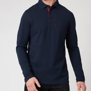 Barbour Tartan Men's Evin Long Sleeved Polo Shirt - Navy