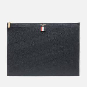 Thom Browne Men's Large Zipper Laptop Holder In Pebble Grain - Black