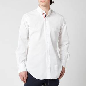 Thom Browne Men's Tricolour Placket Button Down Poplin Shirt - White