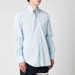Thom Browne Men's Tricolour Placket Button Down Poplin Shirt - Light Blue
