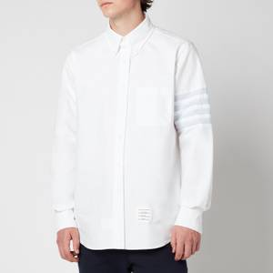 Thom Browne Men's Seamed Four-Bar Sleeve Straight Fit Button Down Shirt - White