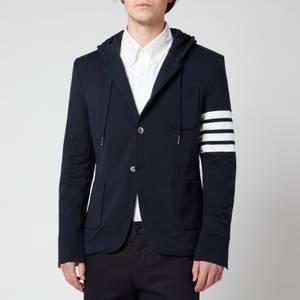 Thom Browne Men's Engineered Four-Bar Stripe Hooded Sport Coat - Navy