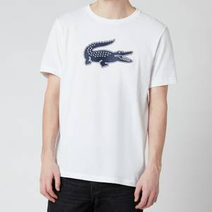 Lacoste Men's Large Crocodile T-Shirt - White/Navy Blue