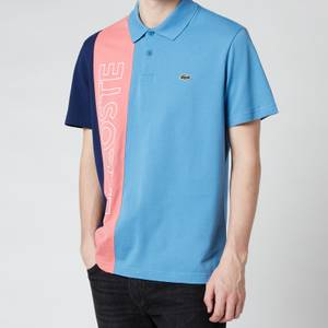 Lacoste Men's Vertical Colourblock Polo Shirt - Turquin Blue/Amaryllis