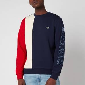 Lacoste Men's Vertical Colourblock Sweatshirt - Navy Blue/Natural Clair