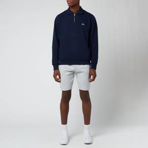 Lacoste Men's Zippered Stand-Up Collar Cotton Sweatshirt - Navy Blue