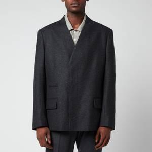 Maison Margiela Men's Lambswool Collarless Jacket - Dark Grey Melange