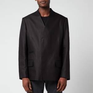 Maison Margiela Men's Cotton Linen Twill Collarless Jacket - Black