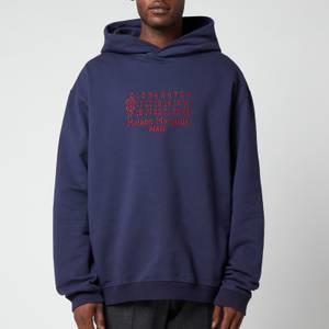 Maison Margiela Men's Centre Logo Compact Hoodie - Indigo