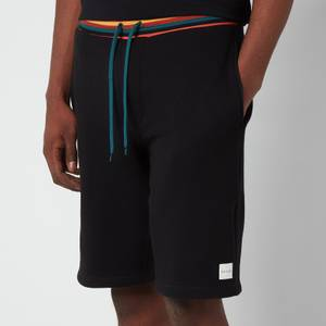 PS Paul Smith Men's Drawstring Stripe Rib Jersey Shorts - Black