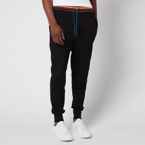 PS Paul Smith Men's Drawstring Stripe Rib Jersey Pants - Black
