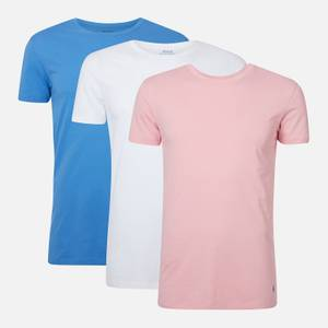 Polo Ralph Lauren Men's Cotton 3-Pack Crewneck T-Shirts - White/Bermuda Blue/Pink