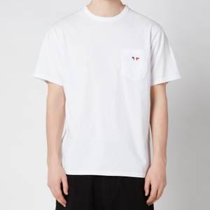 Maison Kitsuné Men's Tricolor Fox Patch Classic Pocket T-Shirt - White