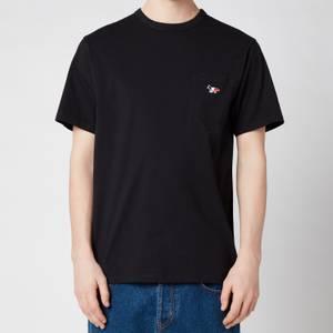 Maison Kitsuné Men's Tricolor Fox Patch Classic Pocket T-Shirt - Black