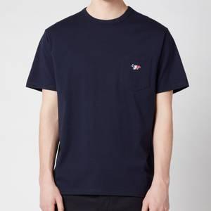 Maison Kitsuné Men's Tricolor Fox Patch Classic Pocket T-Shirt - Navy
