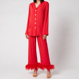 Sleeper Women's Party Pyjama Set with Feathers - Red