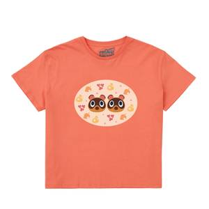 Nintendo Animal Crossing The Nooklings Women's Cropped T-Shirt - Coral