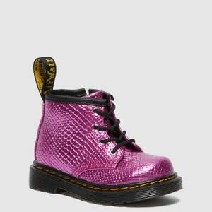 Dr. Martens Babies' 1460 Patent Lamper Lace Up Boots - Pink Reptile Emboss