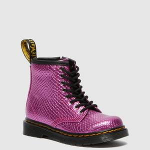 Dr. Martens Toddlers' 1460 Patent Lamper Lace Up Boots - Pink Reptile Emboss