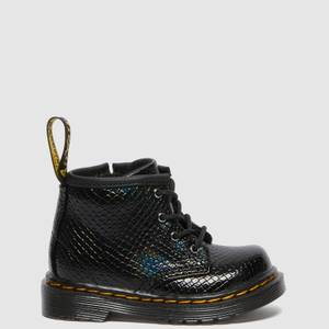 Dr. Martens Babies' 1460 Patent Lamper Lace Up Boots - Black Reptile Emboss