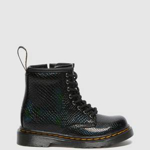 Dr. Martens Toddlers' 1460 Patent Lamper Lace Up Boots - Black Reptile Emboss