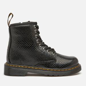 Dr. Martens Kids' 1460 Patent Lamper Lace Up Boots - Black Reptile Emboss
