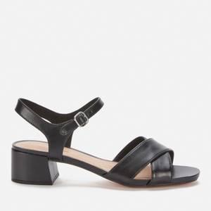 Clarks Women's Sheer35 Strap Leather Block Heeled Sandals - Black