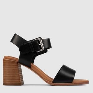 Clarks Women's Landra70 Strap Leather Heeled Sandals - Black