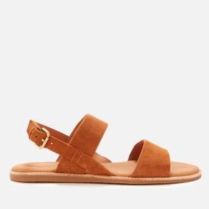 Clarks Women's Karsea Strap Leather Flat Sandals - Tan